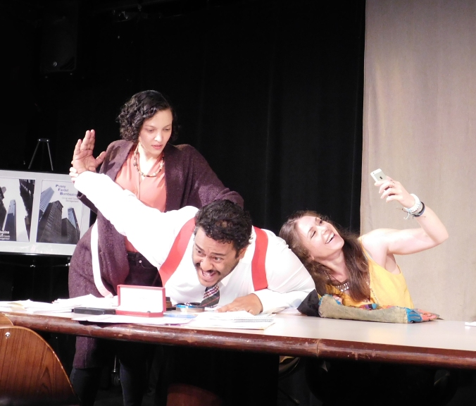 QUIET ENJOYMENT by Richard Curtis - L to R Samantha Mercado Tudda (MERRY), Mario Claudio (BIMSKY) _ Megan Simard (KARMA), Photo by Mozinya Productions