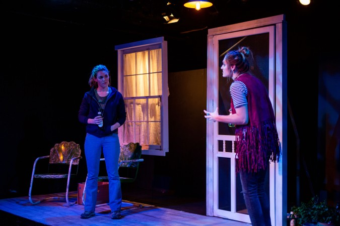 Christina Elise Perry as Kat and Caroline Orlando as Beth in Chain Theatre's Chasing the River_Photo by Matt Wells